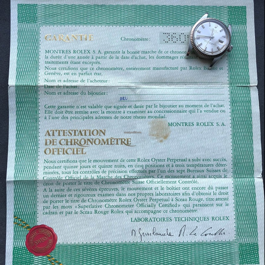 Rolex Datejust 1601 - Wide Boy - original punched papers