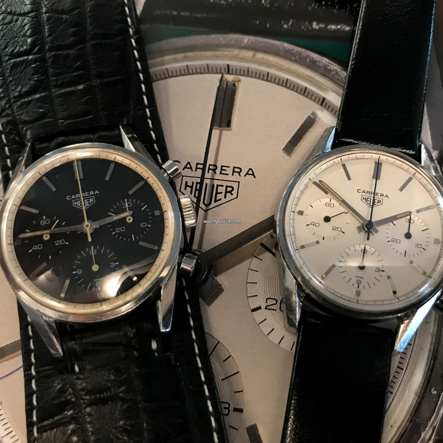 Heuer Carrera 2447 N - Early - the watch next to the 'Eggshell Early' Carrera at Phillips Auction in November 2017