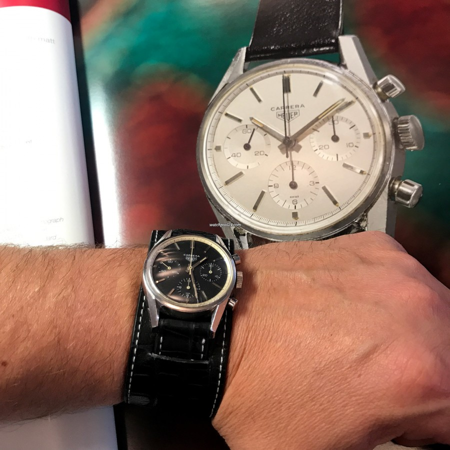 Heuer Carrera 2447 N - Early - wearing the watch at the Phillips Heuer Auction in November 2017