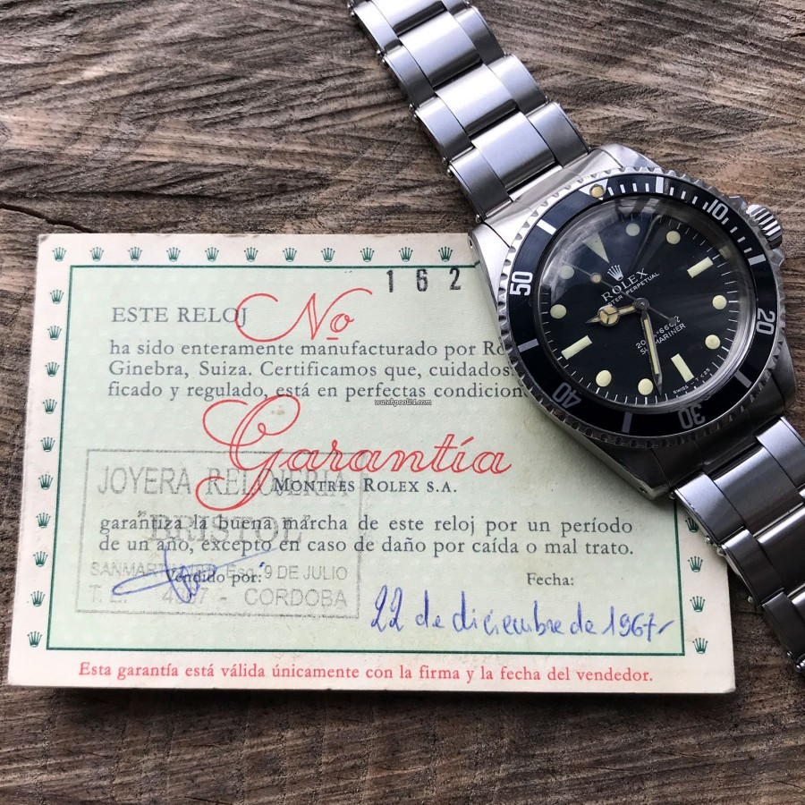 Rolex Submariner 5513 - Box and Papers - original papers from 1967