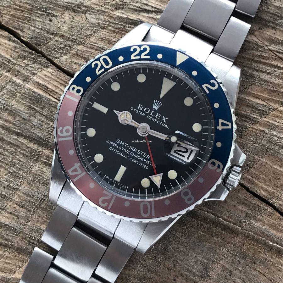Rolex GMT Master 1675 MK1 Long E - Papers - beautifully faded pepsi bezel