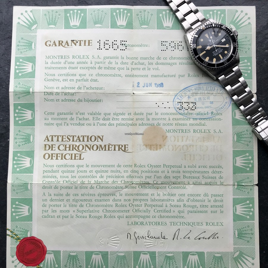 Rolex Sea-Dweller 1665 Rail Dial - Box and Papers - original Rolex punched papers, country code 430 (Singapore), sold in Singapore