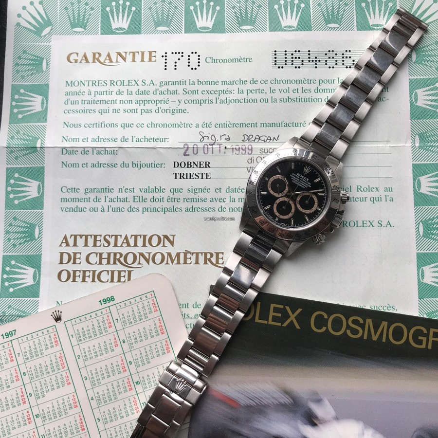 Rolex Daytona 16520 - Full Set Tropical - punched papers - sold in Italy in 1999