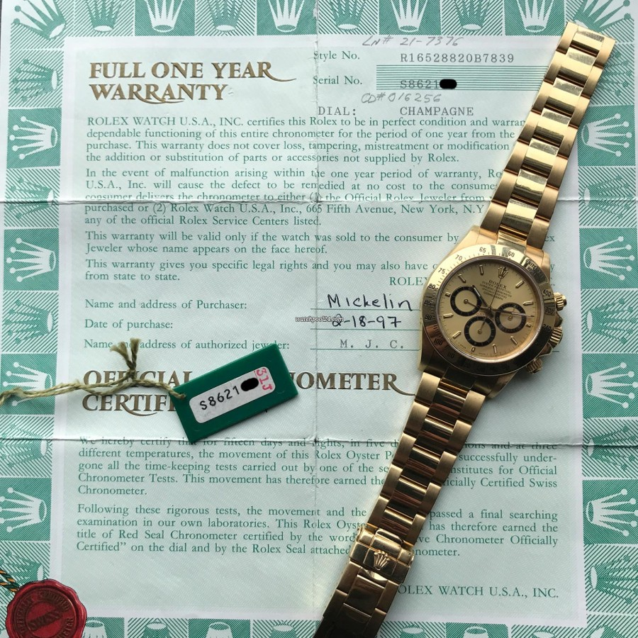 Rolex Daytona 16528 - Papers and Sticker - original papers - sold in 1997