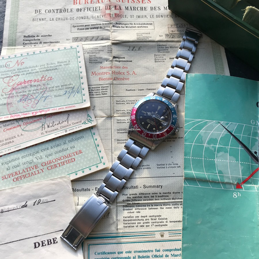 Rolex GMT Master 1675 Tropical OCC Full Set - the watch on the original oyster bracelet and papers