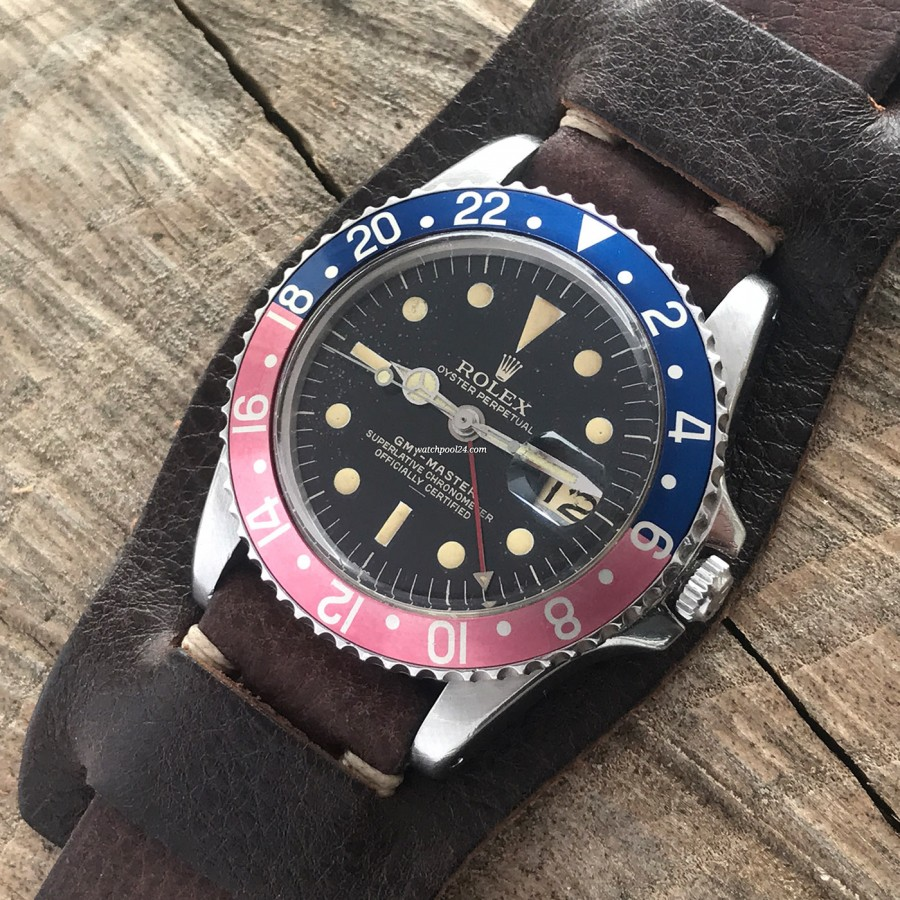 Rolex GMT Master 1675 Underline - Radial Dial - beautiful Paul Newman Bund leather strap