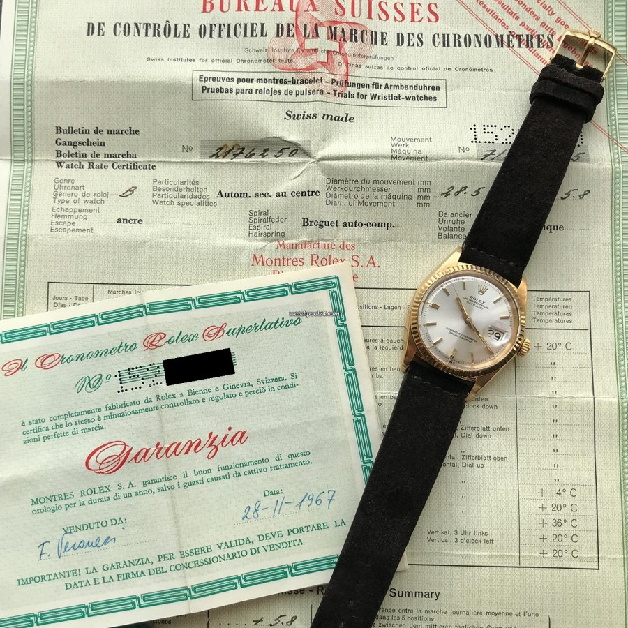 Rolex Datejust 1601 Step Dial - Papers - originale Papiere: Garantie- und Gangschein von 1967