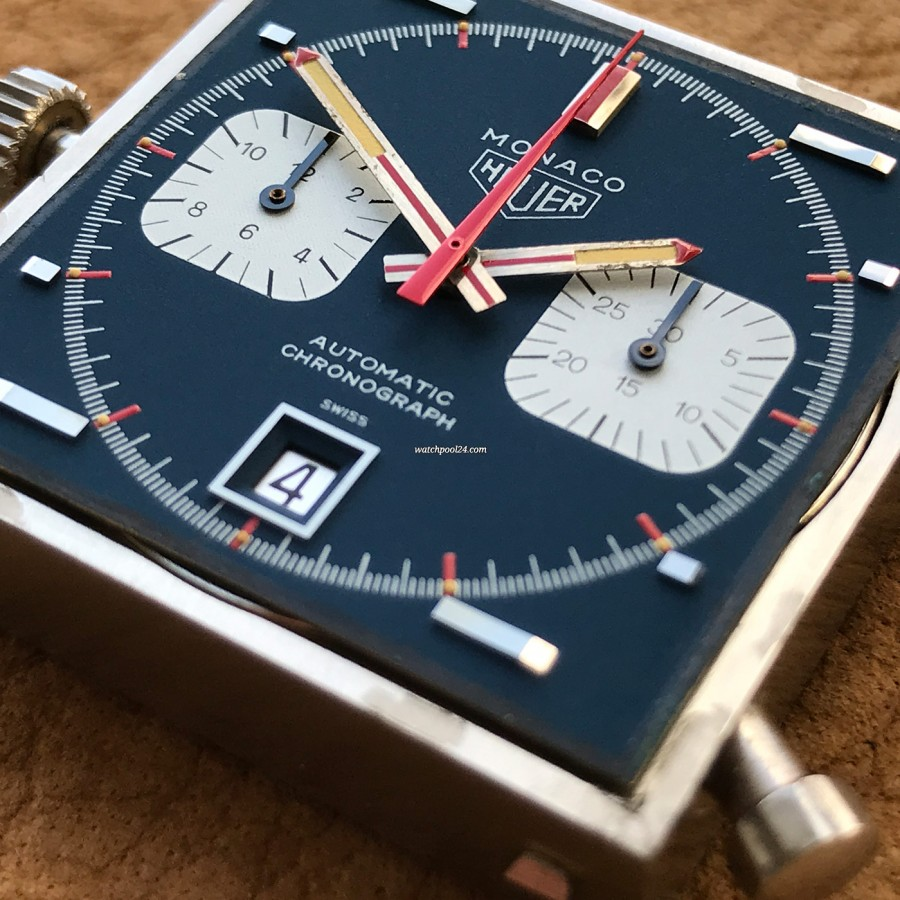 Heuer Monaco 1133B - NOS - Sticker - flawless blue surface of the dial