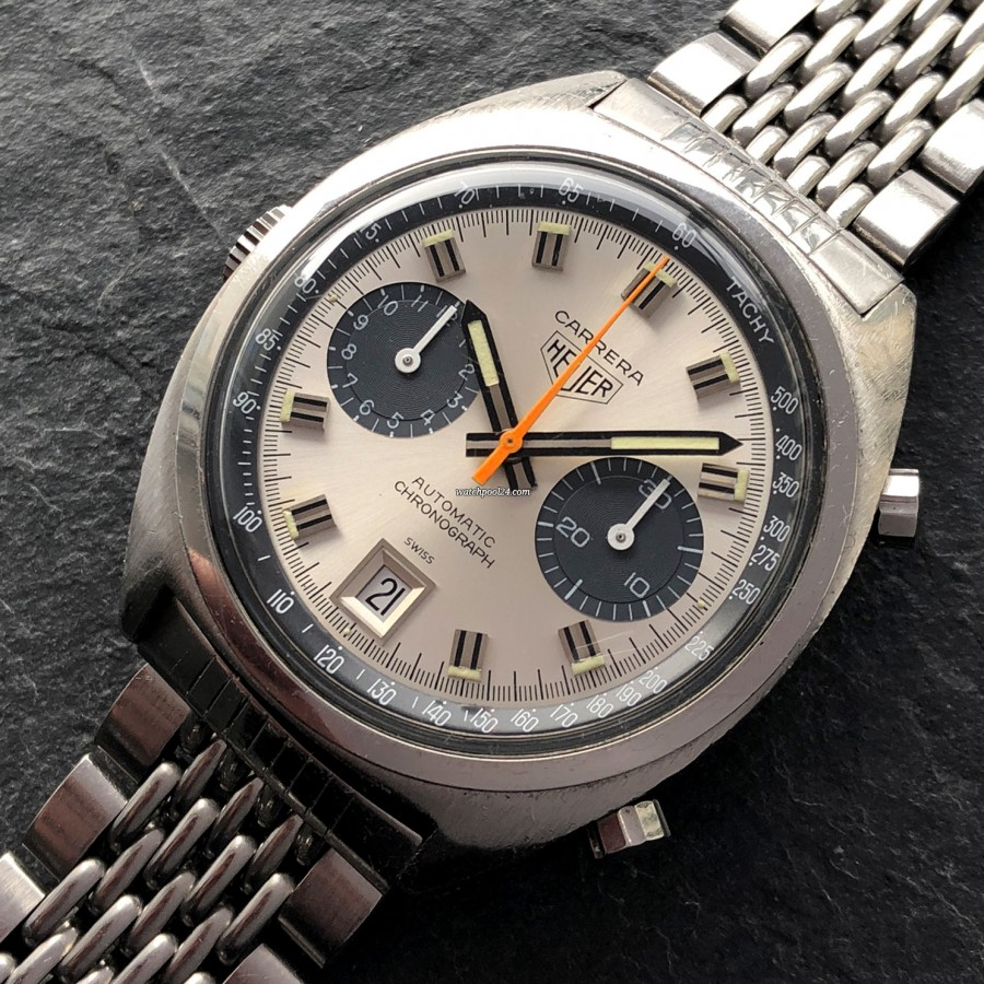 Heuer Carrera 1153 - Silver Dial - orange chrono hand - tachymeter scale - date window