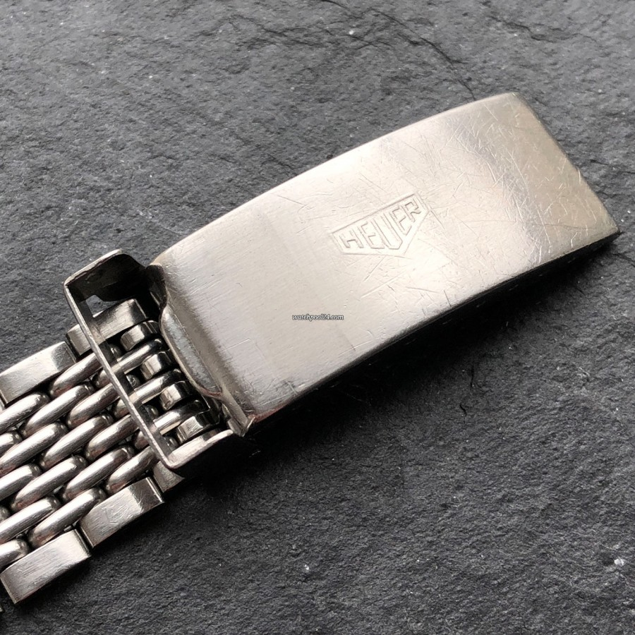 Heuer Carrera 1153 - Silver Dial - Heuer logo on the clasp