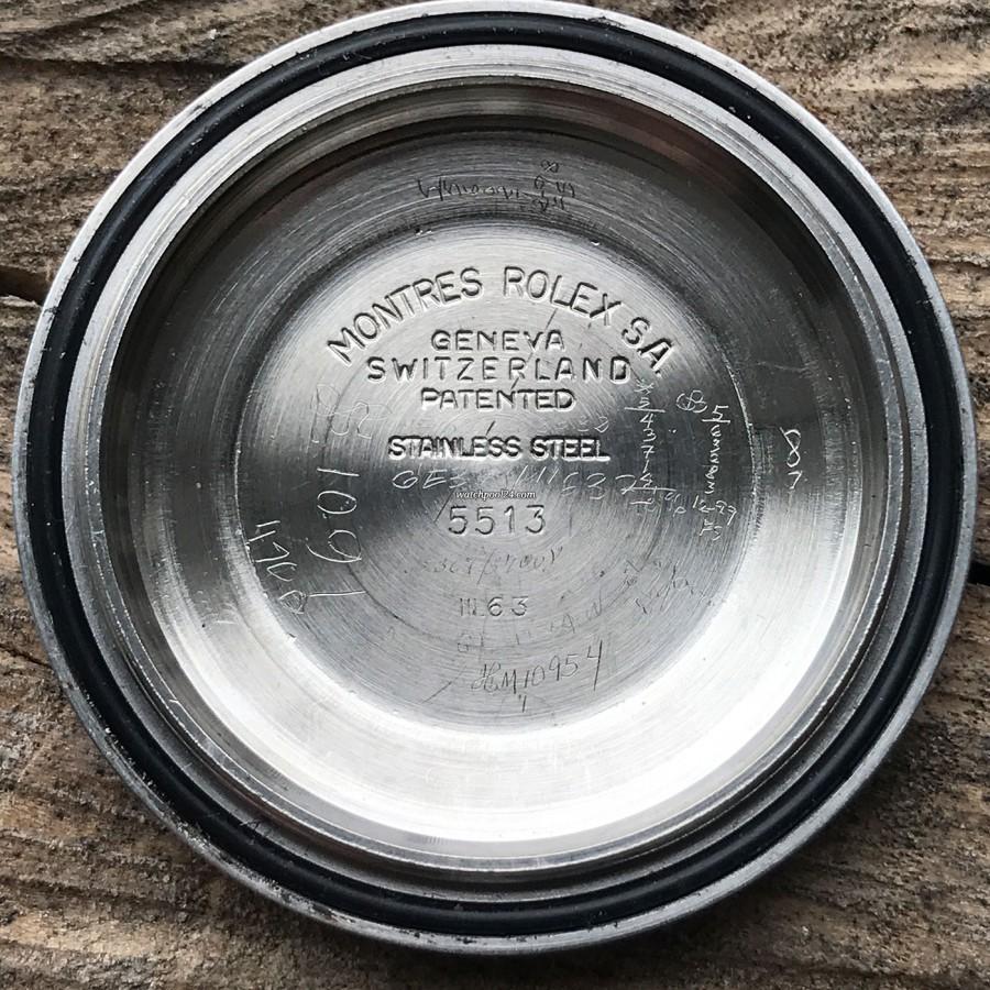 Rolex Submariner 5513 PCG - stamped date inside case back: III 63 (third quarter 1963)