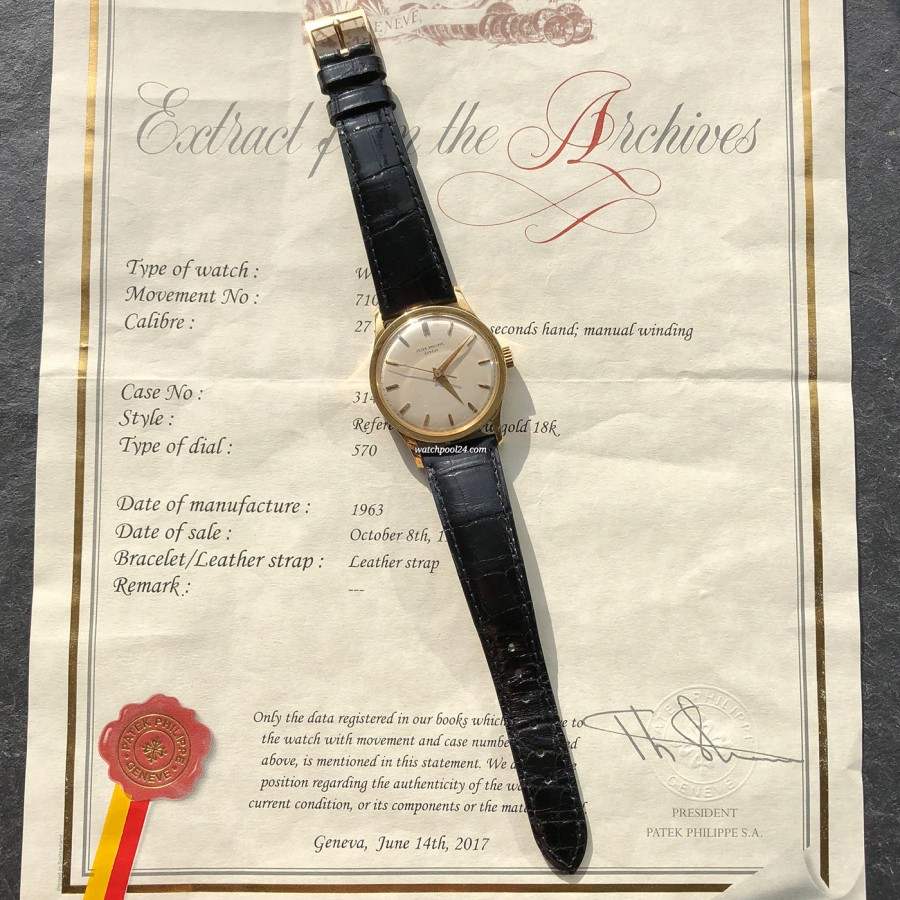 Patek Philippe Calatrava 570 Jumbo - extract from the Patek Philippe archive