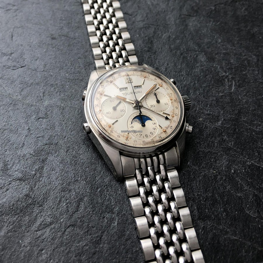 Tourneau Datofix 4356 Triple Date Moon Phase - nice stainless steel bracelet