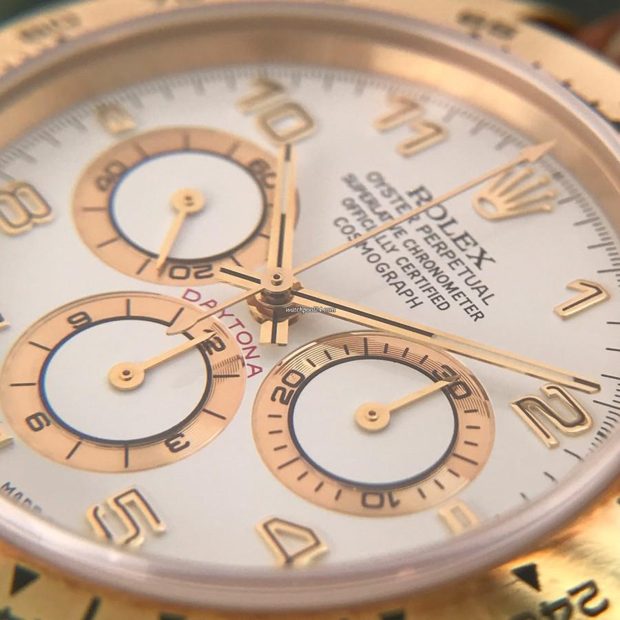 Rolex Daytona 16518 Full Set - harmonischer Eindruck: weißes Zifferblatt mit goldenen Elementen