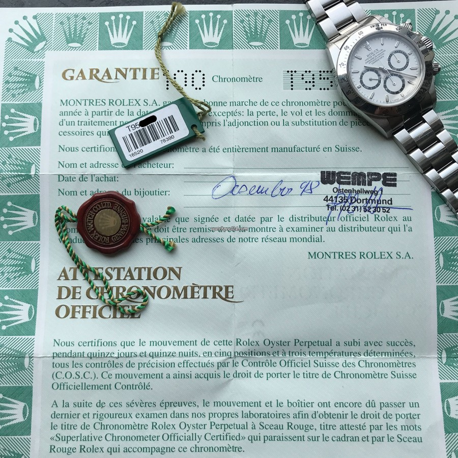 Rolex Daytona 16520 Full Set - LC100 - punched papers, sold 1998 in Dortmund, Germany