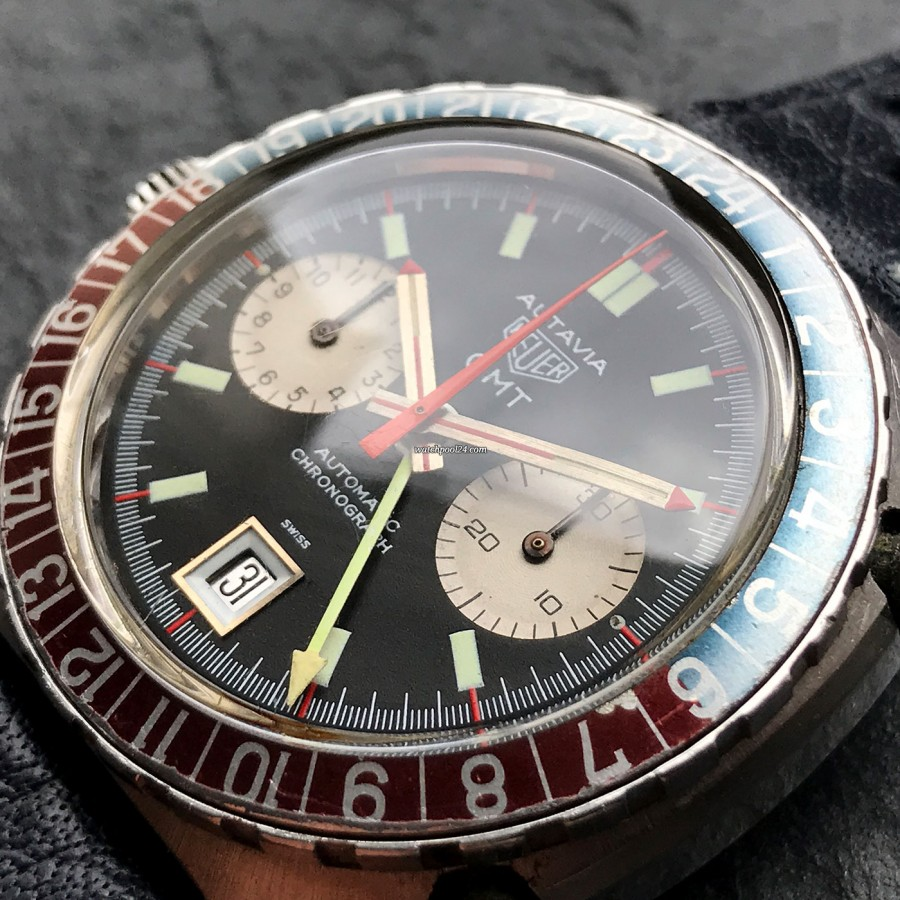 Heuer Autavia 1163 GMT Early MK1 - faded bezel with all 24 hour numbers