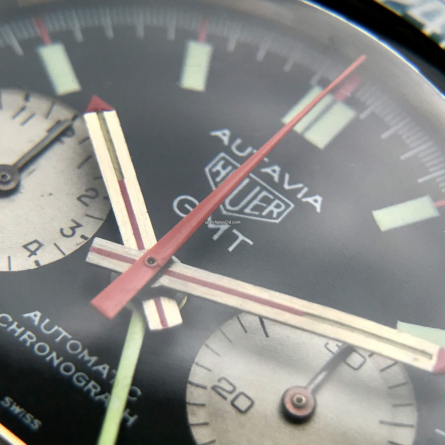 Heuer Autavia 1163 GMT Early MK1 - red chrono hand, hour and minute hand designed with red accents