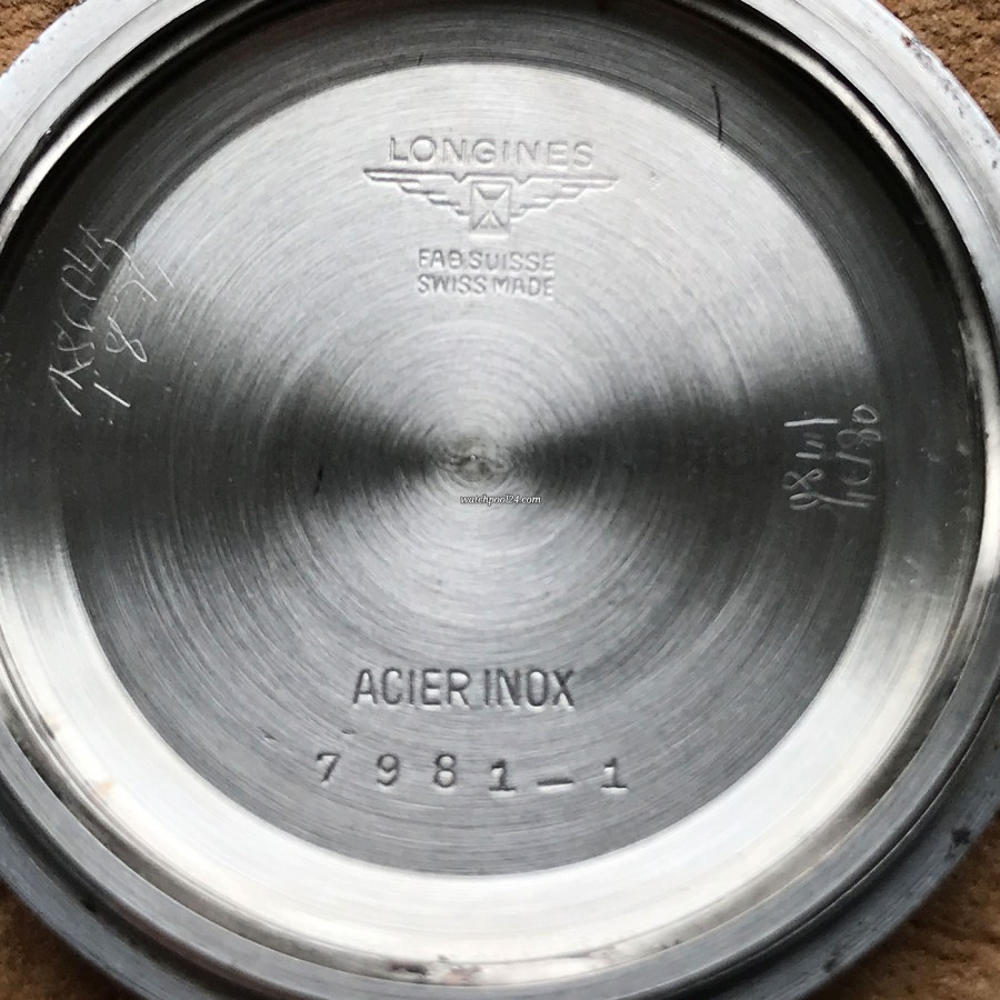 Longines Diver Chronograph 7981-1 Big Eye Tropical - Gehäuseboden graviert mit der Referenznummer 7981-1