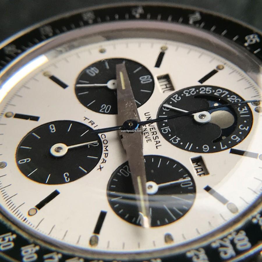 Universal Genève Tri-Compax 881101/01 Eric Clapton - MK1 - gleichmäßig gealterte Tritium-Leuchtmasse in den Stundenmarkern und Zeigern