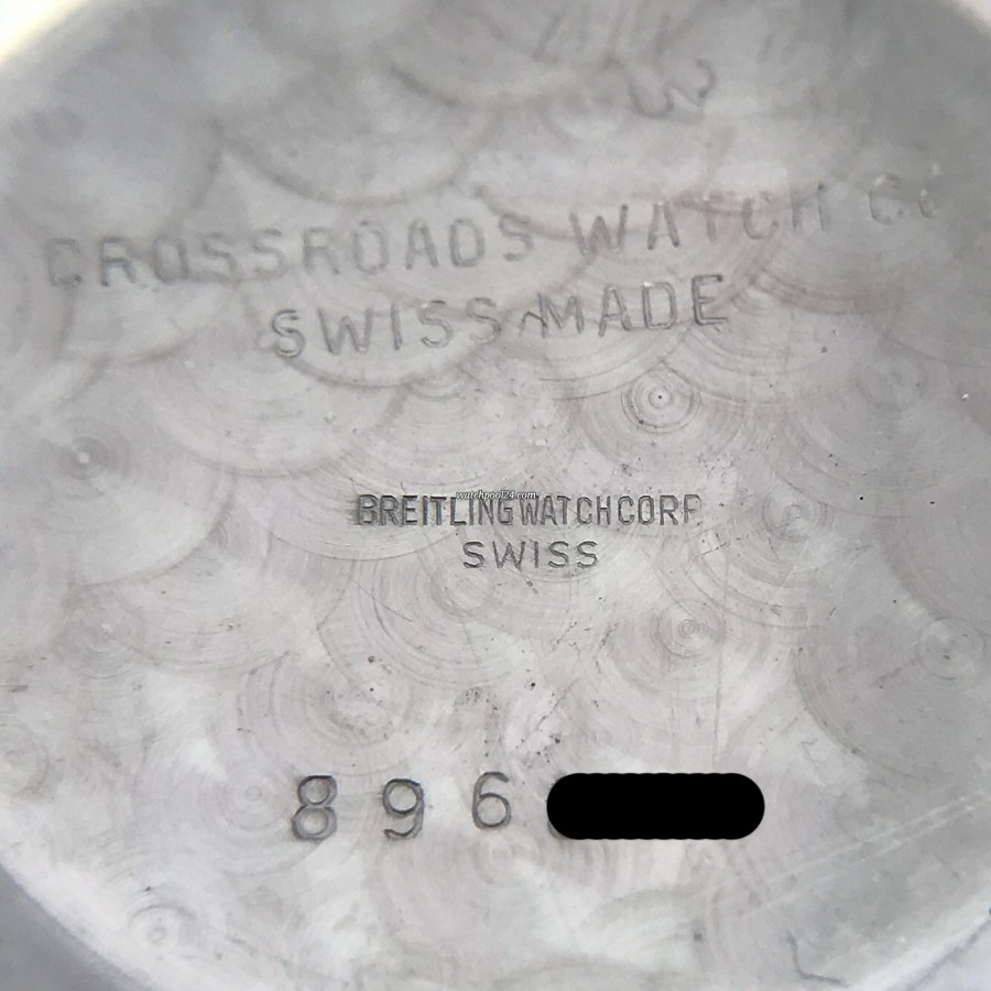 Breitling Navitimer 806 - case back cover signed with serial number and 'Crossroads Watch Co.'