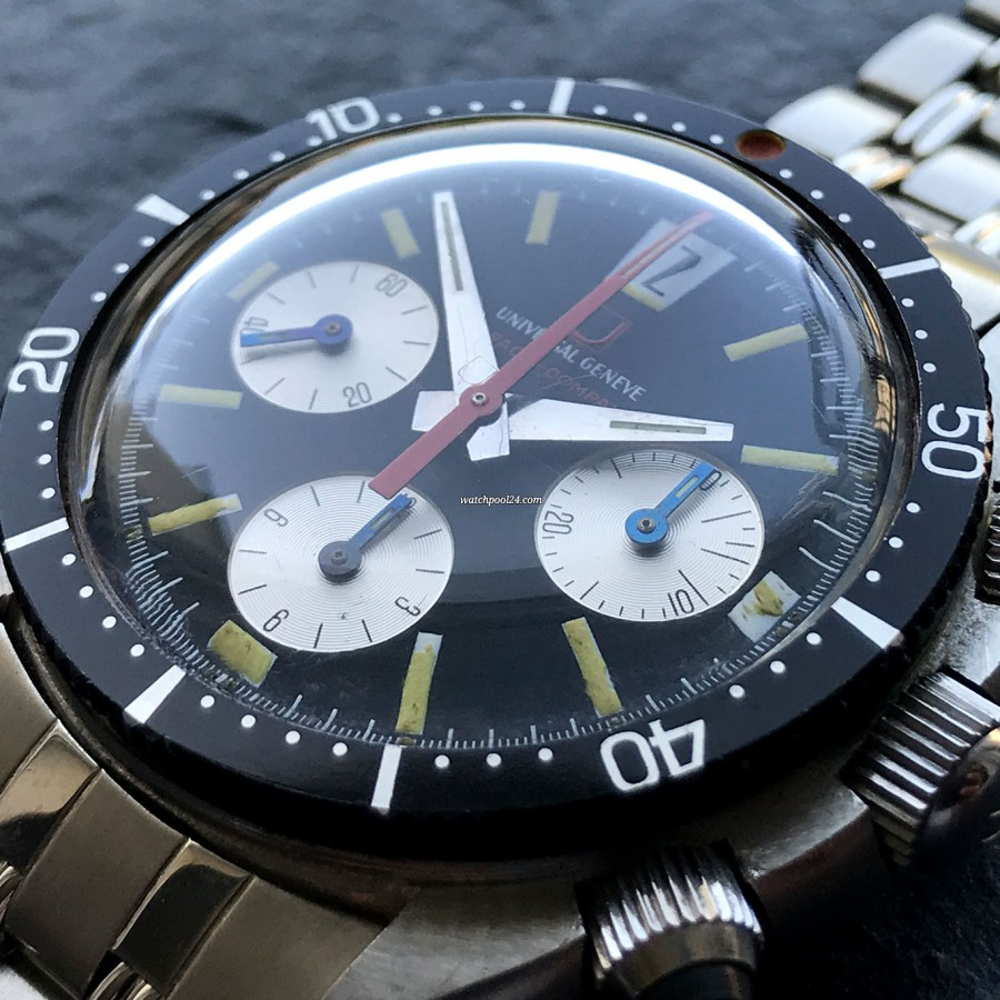 Universal Genève Space-Compax 885104/01 - MK1 - very rare countdown bezel with reversed numbers