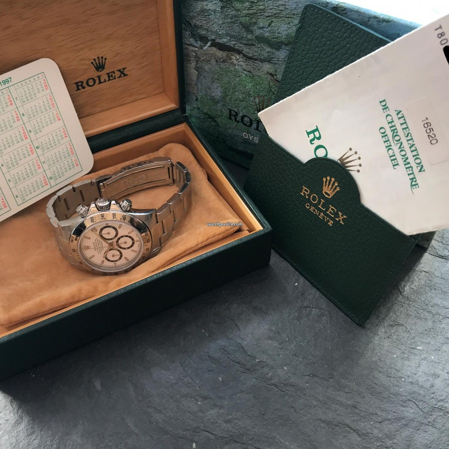 Rolex Daytona 16520 Full Set - Sticker - full set with box, papers, calendar, leather card holder
