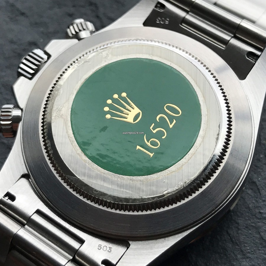 Rolex Daytona 16520 NOS Full Set - unberührtes, grünes Rolex-Hologram auf dem Gehäuseboden