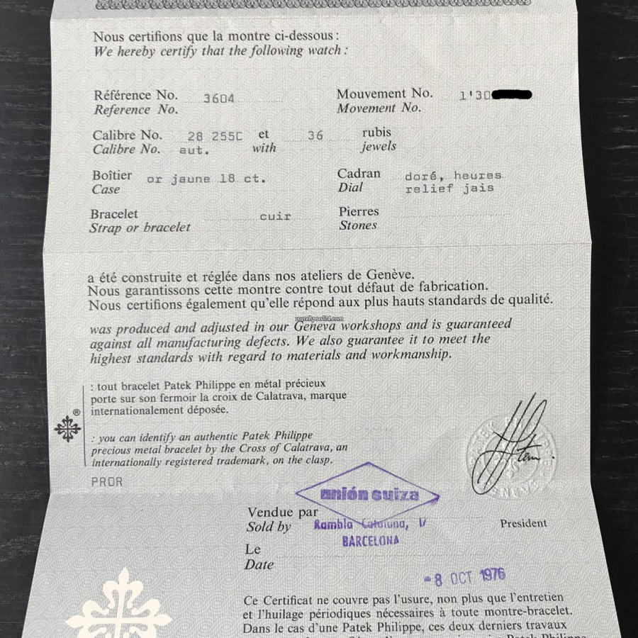 Patek Philippe Ellipse 3604 Jumbo - original invoice from 1976, Patek Philippe certificate