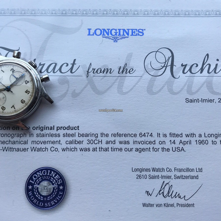 Longines Chronograph 6474 Flyback - Extract from the Longines Archives