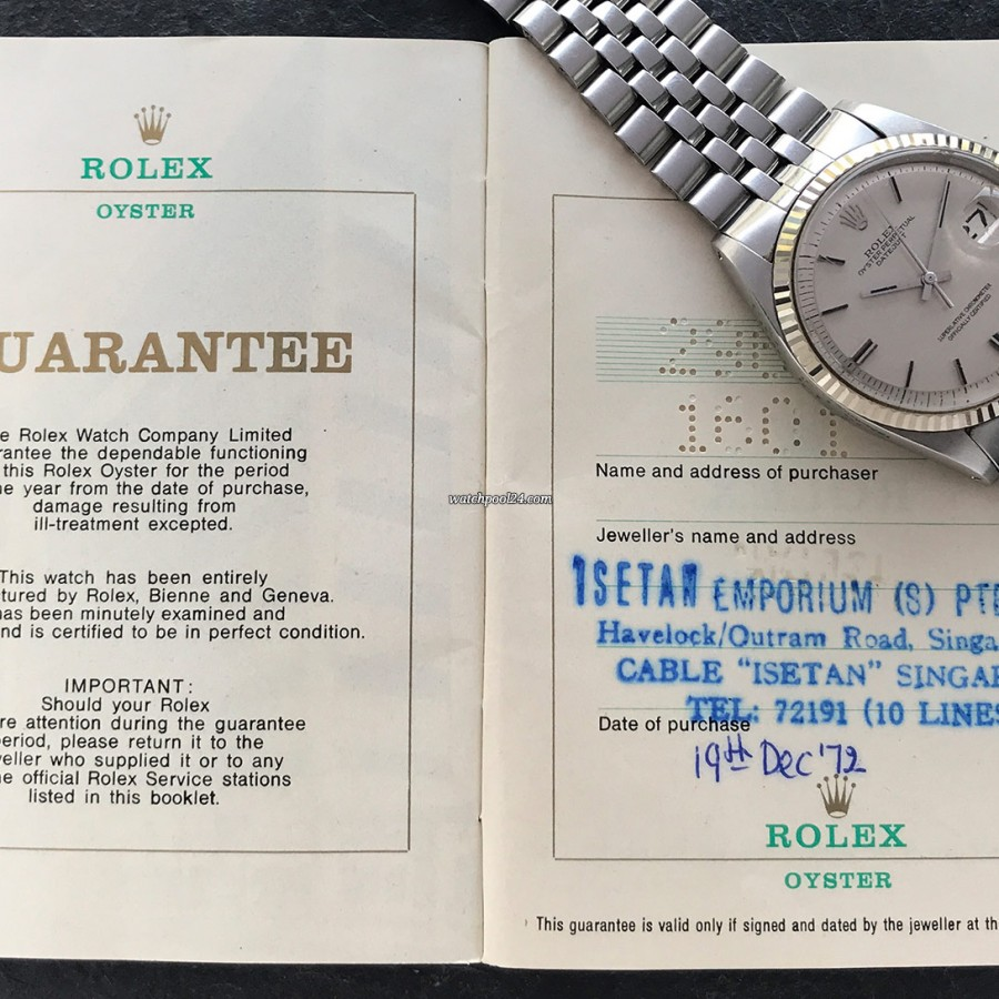Rolex Datejust 1601 Linen No Lume Punched Papers - punched papers from 1972, sold in Singapore
