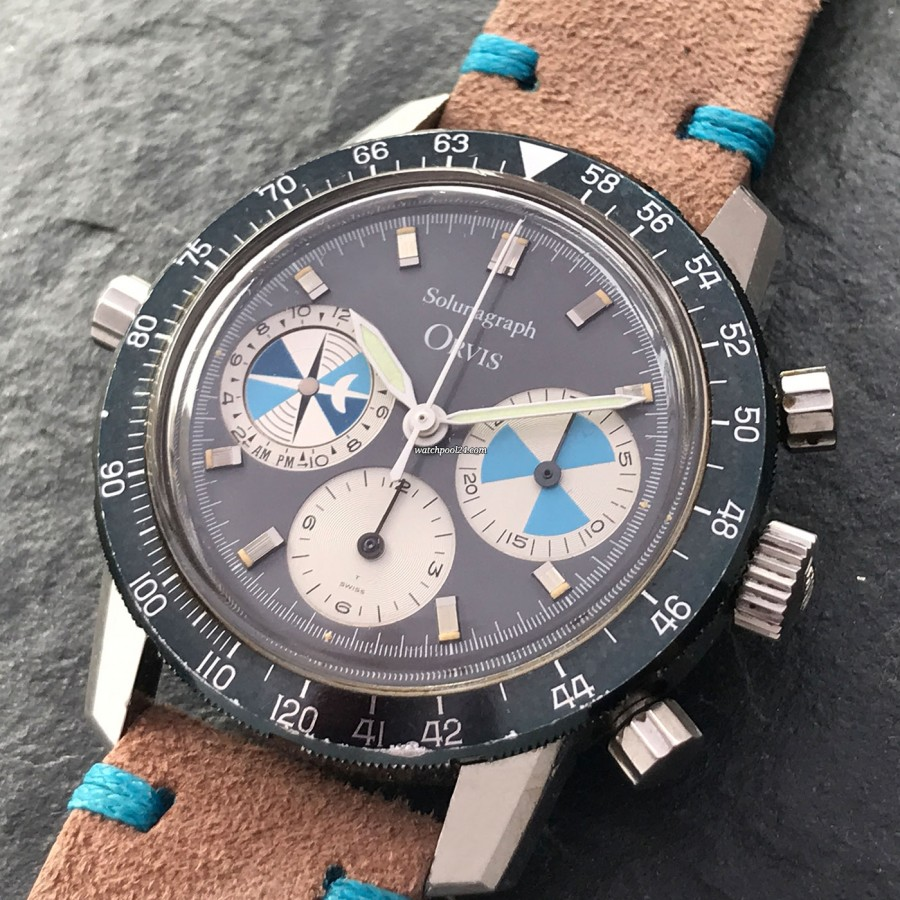 Heuer Orvis Solunagraph 2446SF - beautiful dial with intact lume