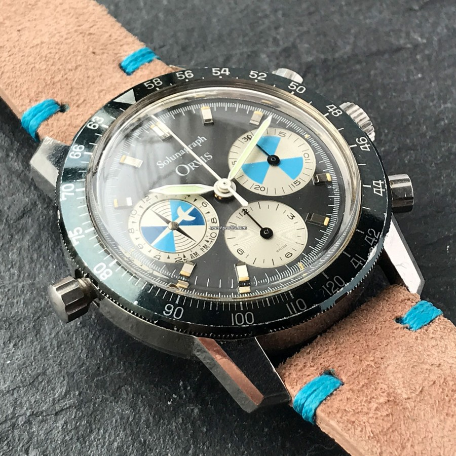 Heuer Orvis Solunagraph 2446SF - pusher at 9 o'clock for the regulation of the tide display