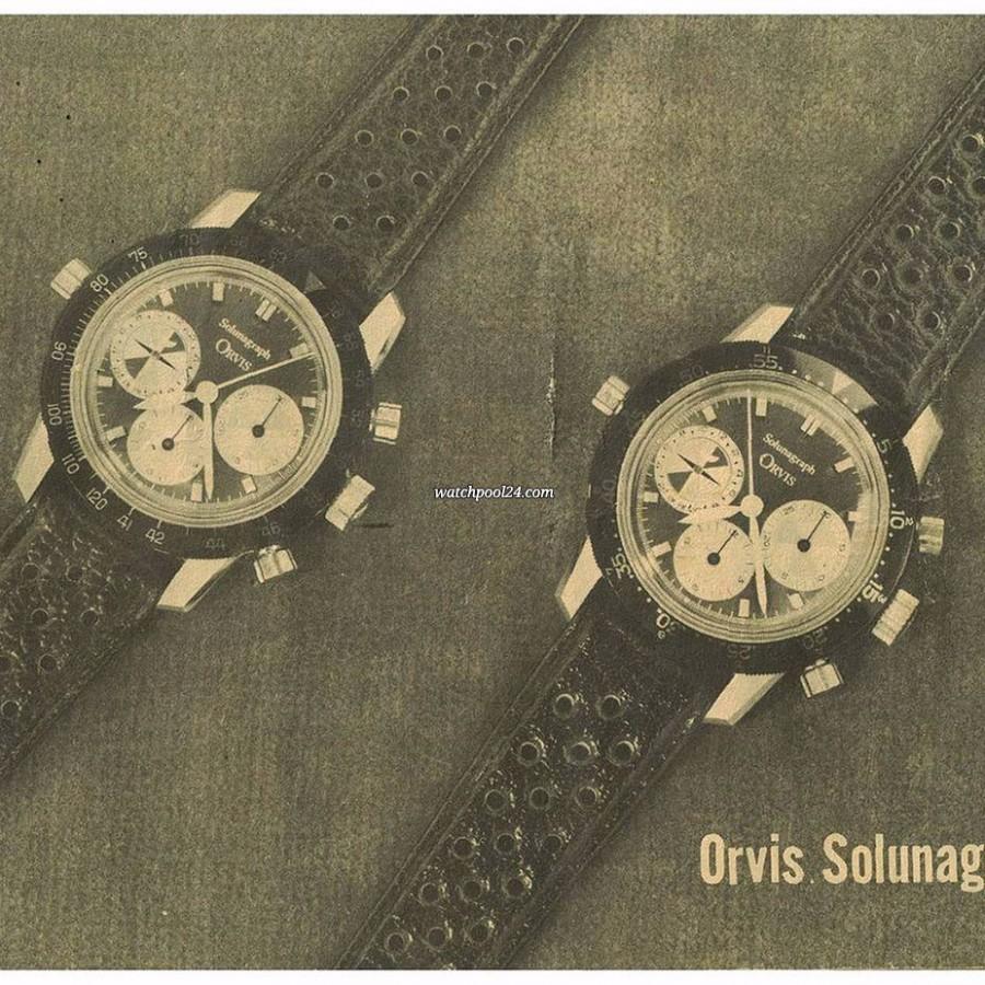 Heuer Orvis Solunagraph 2446SF - unterschiedliche Lünetten-Ausführungen im originalen Orvis-Katalog