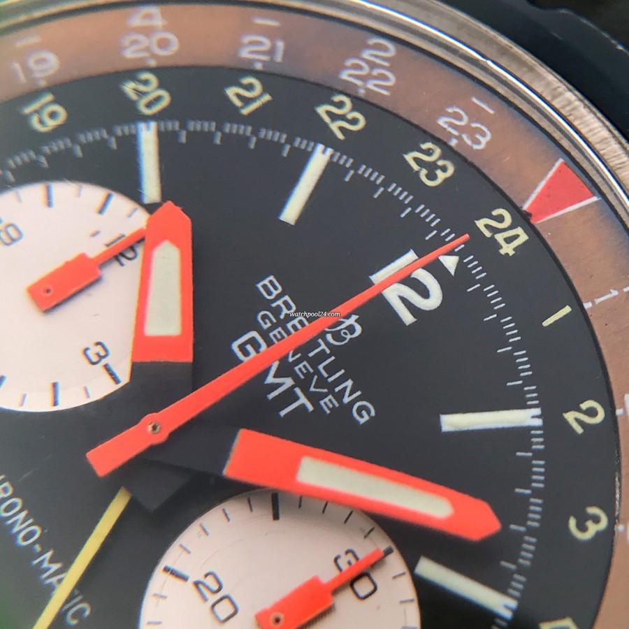 Breitling Chronomatic 2115 GMT - Box und Papiere - orangene Zeiger und intakte Leuchtmasse