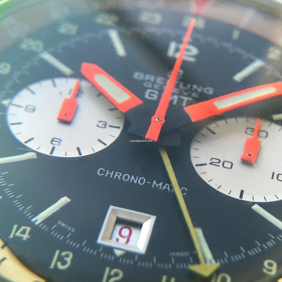 Breitling Chronomatic 2115 GMT - Box und Papiere - mattschwarzes Zifferblatt und das Datumsfenster