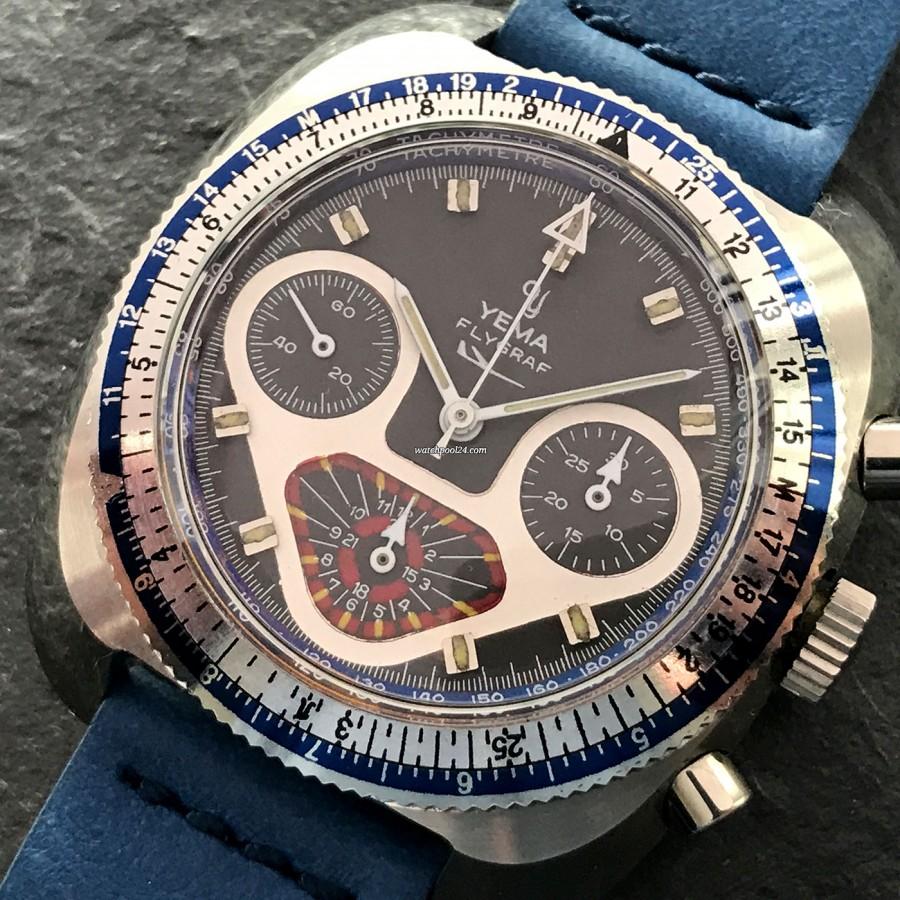 Yema Flygraf Chronograph - blau-silberne Rechenschieberlünette