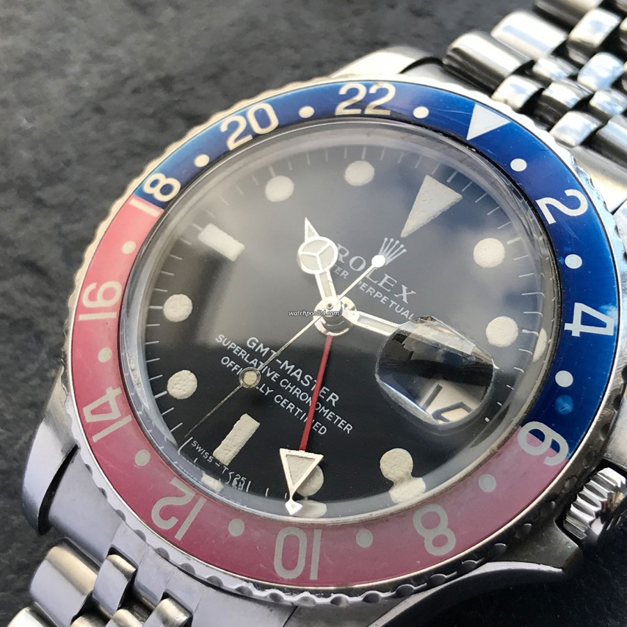 Rolex GMT Master 1675 Pink Lady Papers - pepsi bezel faded to a beautifully pink-blue