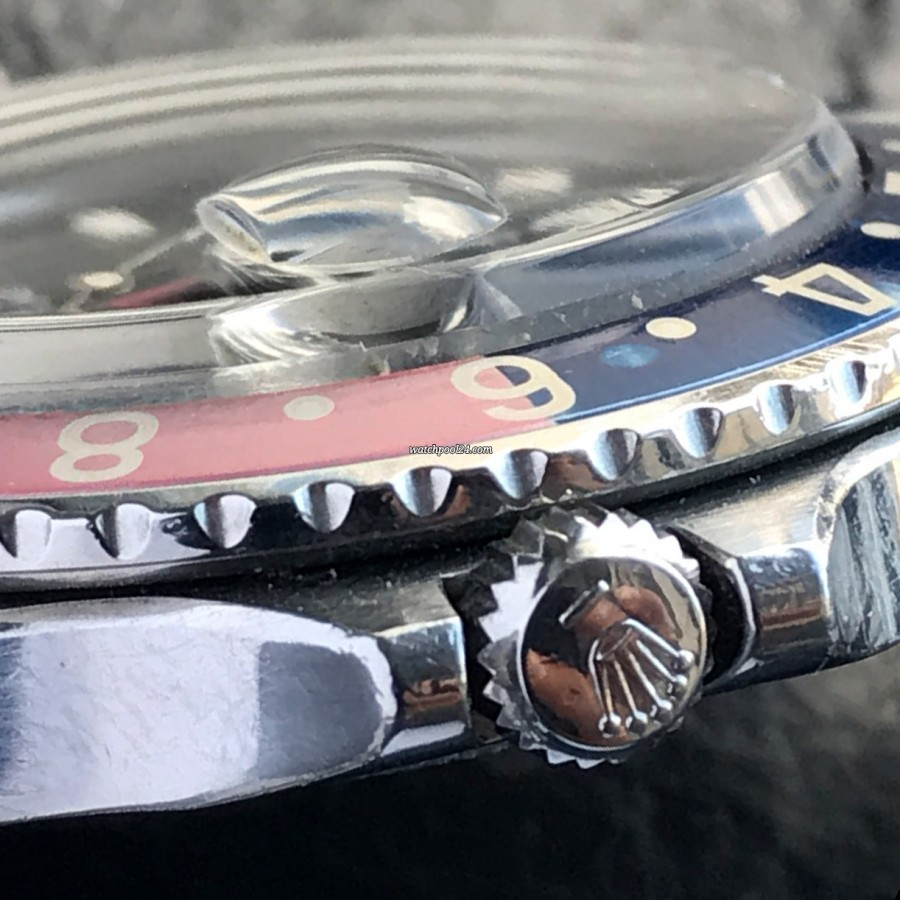 Rolex GMT Master 1675 Pink Lady Papers - screw-down Twinlock crown