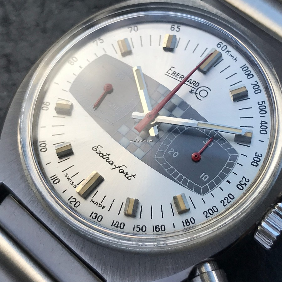 Eberhard Extra-Fort 31006 Hang Tag - well preserved silver dial