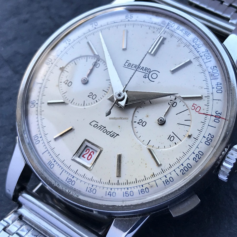 Eberhard Contodat 14900 - silver dial with gorgeous honest patina