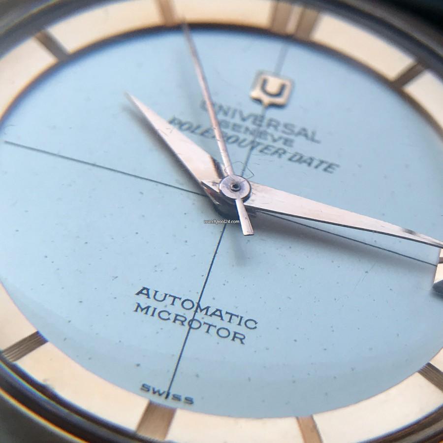 Universal Genève Polerouter Date 104503-2 Rotgold - das Zifferblatt unter der Lupe