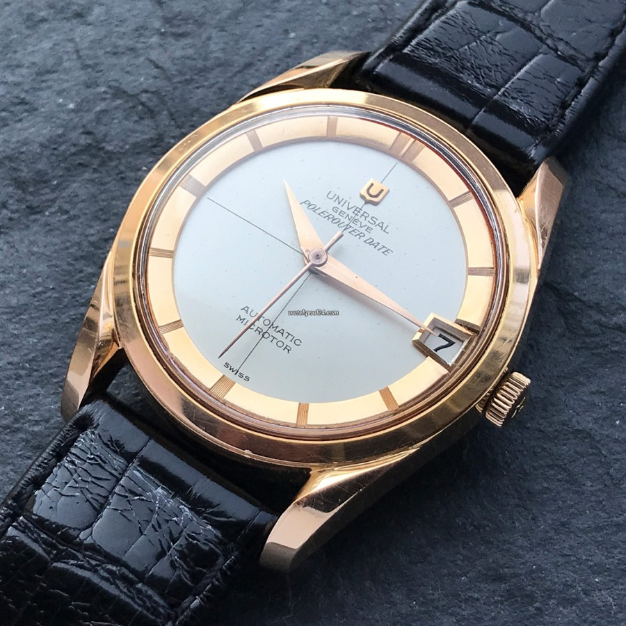 Universal Genève Polerouter Date 104503-2 Rose Gold - attractive vintage watch from the 1950s in remarkable condition