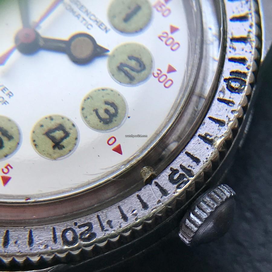 Nivada Grenchen Depthomatic Skin Diver - die kleine Öffnung bei 3 Uhr und die Wasserröhre (Details siehe Beschreibung)