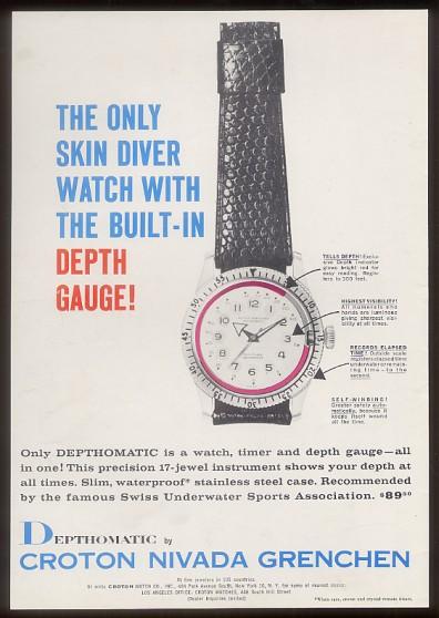 Nivada Grenchen Depthomatic Skin Diver - Nivada Depthomatic Werbung aus den 1960er Jahren