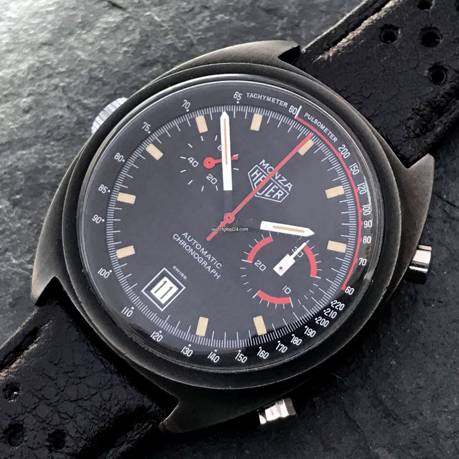 Heuer Monza 150.501 PVD - black PVD surface gives the Monza a sporty killer look