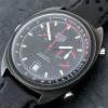 Heuer Monza 150.501 PVD - das schwarze Zifferblatt mit Tachymeter- und Pulsometer-Skala