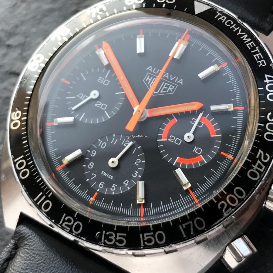 Heuer Autavia 73663 Villeneuve - black dial with orange accents