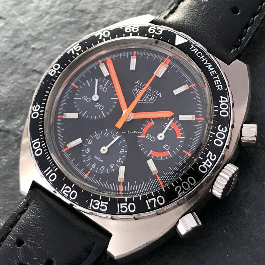 Heuer Autavia 73663 Villeneuve - black rotatable tachymeter scale