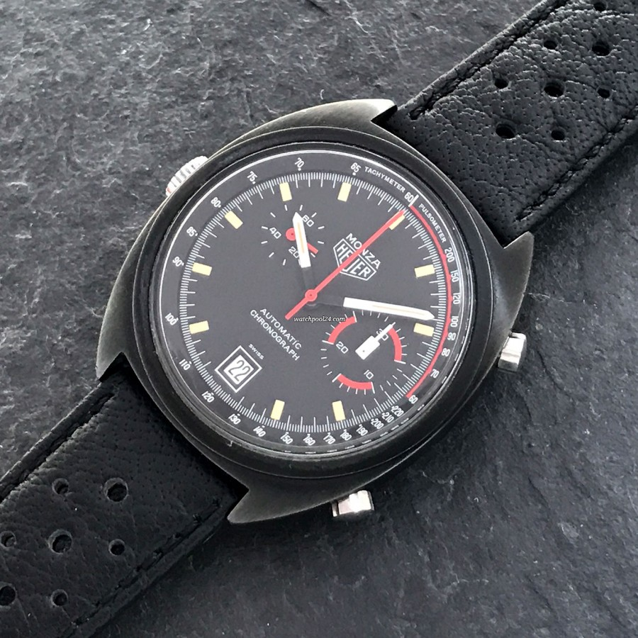 Heuer Monza 150.501 Black PVD - combined pulsometer and tachymeter scale