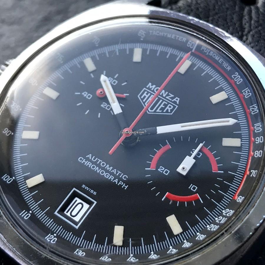 Heuer Monza 150.511 Chrome-Plated - schwarzes Zifferblatt mit intakter Leuchtmasse und roten Akzenten